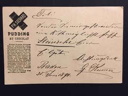 1891, Publicité Chocolat Suchard Recette Pudding Au Chocolat, Baden, Entier Postal. SCHOKOLADE. CHOCOLATE - Enteros Postales