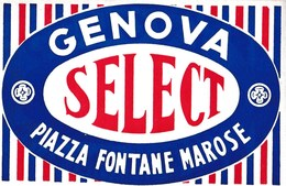 Etiquette De Bagage Valise Tag Valigia Hotel Select Genova (Italia) Piazza Fontane état Neuf - Advertising