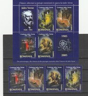 JULES VERNE,WRITERS,BLOCK + FULL STAMPS,2005,MNH,ROMANIA. - Ecrivains