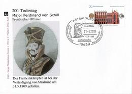 2009 GERMANY. Cover With Ferdinand Von Schill Special Cancel. Stralsund And Wismar World Heritage Cities - [7] République Fédérale
