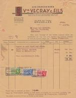1939: Facture Des ## Les Papeteries Vve VECRAY & Fils, Rue Du TIVOLI, 23, BXL. ##  à ## Maison VAN MECHELEN, Rue ... - Printing & Stationeries
