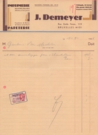 1936: Facture De ## Imprimerie/Papeterie J. DEMEYER, Rue Emile Feron, 19, BXL. ##  à ## Ganterie VAN MECHELEN, BXL. ## - Imprenta & Papelería