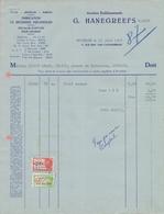 1948: Facture Des ## Anc. Etabls. G. HANEGREEFS, Rue Edm. Van Cauwenbergh, 71, BXL. ## à ## Maison GILSON DRABS, Av. ... - Printing & Stationeries