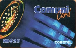 Dominicana - DMC030, Comuni Card, Phone (Black Strip Upperside), RD$25, Used - Dominicana