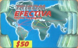 Dominicana - DM-T01, Tricom, Worldmap (rev : No Barcode), $50, BCC5, Used - Dominicaanse Republiek