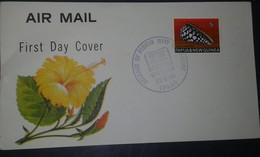 L) 1960 PAPUA & NEW GUINEA, CONUS MARMOREUS, SNAIL, SEA SHELLS, FLOWER, AIR MAIL, FDC - Papouasie-Nouvelle-Guinée