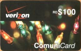 Dominicana - DO-VER-012 ,Verizon, Mobile Refill, Christmas Lights, RD$ 100, Used - Dominicana