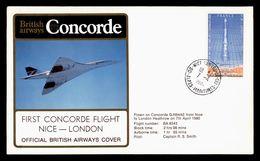 CONCORDE 1980 FIRST FLIGHT NICE - LONDON / LONDRES OFFICIAL BRITISH AIRWAYS COVER PREMIER VOL - Concorde