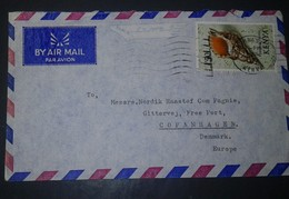 L) 1971 KENYA, SEA SHELLS, MARINE LIFE, CHARONIA TRITONIS, CONCH, AIRMAIL, CIRCULATED COVER FROM KENYA TO DENMARK - Kenya (1963-...)