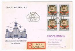 DEUTSCHLAND/ DDR - Stalin Michel # 425, Viererblock, 5.3.1954, Ersttag, R - Brief -1234 - Covers & Documents