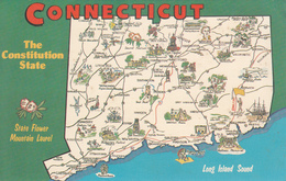 Greetings From Connecticut - Map - Constitution State - 2 Scans - Greetings From...