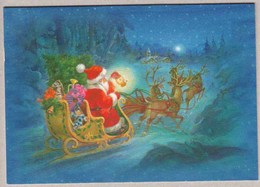 Santa Claus Is Bringing Christmas Presents With Reindeers Sleigh - Double Card - Santa Claus