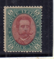 ITALIA REGNO ITALY KINGDOM 1889 EFFIGIE RE UMBERTO I KING EFFIGY LIRE 5 MNH - Mint/hinged