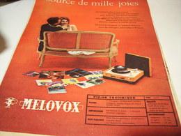 ANCIENNE PUBLICITE ELECTROPHONE  DE MELOVOX - Musique & Instruments