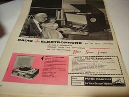 ANCIENNE PUBLICITE RADIO ELECTROPHONE  PATHE MARCONI 1954 - Music & Instruments
