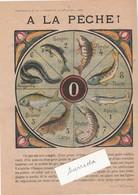 """Jeu Société Ancien / """"A La Pêche"""" / Poissons D'eau Douce / Jeu Avec Caillou, Graine Ou Petit Plomb - Other Collections"""