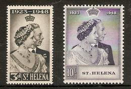 ST HELENA 1948 SILVER WEDDING SET MOUNTED MINT Cat £28+ - Sainte-Hélène