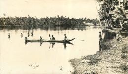 Samoa, Photo-carte D'une Lagune Communicant Avec La Mer, N° 1, Enfants Et Pirogue, Beau Document - Samoa