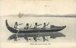 Archipel Des Fidjis, South Sea Island Canoe, Beau Document Pas Courant - Fidji
