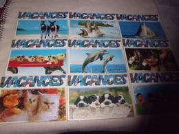 LOT DE 9 CARTES HUMORISTIQUES ...ANIMAUX (1 Bebes) ...COLLECTION VACANCES - 5 - 99 Postcards