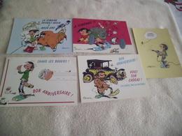 LOT DE 5 CARTES HUMORISTIQUES ...GASTON LAGAFFE   ...SIGNE FRANQUIN - Cartes Postales