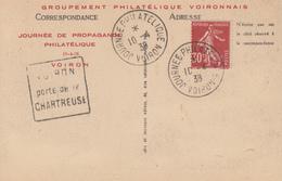 Carte  Oblitération   JOURNEE   PHILATELIQUE    VOIRON   1938 - Cachets Commémoratifs
