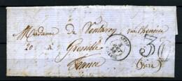 ALGERIE - 3 Août 1858 - Lettre De SETIF Pour GRENOBLE - Taxe Tampon 30 - Très Beau - Algeria (1924-1962)