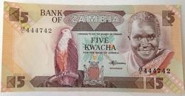 Billete Zambia. 5 Kwacha. 1980-1988. Firma 7. Águila, Presa. Sin Circular - Zambie