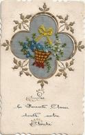 Jolie Carte Brodée Panier De Fleurs - Fleurs