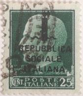 Sello 25 Céntimos. República Social Italiana. Italia Fascista. II Guerra Mundial. 1939-45. Mussolini - 4. 1944-45 Repubblica Sociale