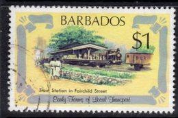 BARBADOS - 1981 $1 TRANSPORT RAILWAY STATION FINE USED REF A SG 669 - Barbados (1966-...)