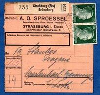 Colis Postal  -  Départ Strasburg - Grüneberg  -  17/3/1944 --déchirure - Allemagne