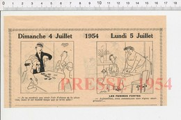 2 Scans 1954 Humour Joueurs Jeu De Cartes Strip-poker ? Régime Amaigrissant Jeu Dames Cordée Montagne Alpinisme  223XD - Vieux Papiers