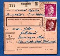 Colis Postal  -  Départ Vendenheim -  27/3/1944 -- - Allemagne
