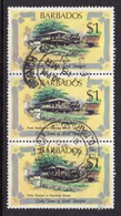 BARBADOS - 1981 $1 TRANSPORT RAILWAY STATION FINE USED VERTICAL STRIP OF 3 SG 669 X 3 - Barbados (1966-...)