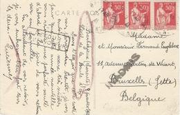 9 Janv. 1941 - C P A De Barbezieux ( Charente) Affr. 1,50 F Paix Pour La Belgique Avec Retour - INADMIS  + - Postmark Collection (Covers)