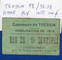 Tressin  59 /3239  Rare  R4  Cote  100 Euros - Bons & Nécessité