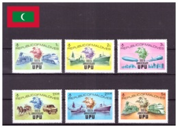 Maldives 1974 - MNH ** - UPU - Michel Nr. 514A-519A Série Complète (mdv088) - Maldives (1965-...)