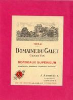 Etiquette Vin, Domaine Du Galet, Bordeaux Supérieur, 1964 - Collections, Lots & Séries