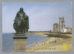 NL.- GROETEN UIT ZEELAND. Standbeeld Michiel Adrianszoon De Ruyter. Strand. Vlissingen - Gruss Aus.../ Gruesse Aus...