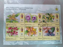 MALAYSIA 2018 WILD ORCHIDS Definitive State Series MS Stamps Perf Terengganu Trengganu Sultan Mizan Used - Malaysia (1964-...)