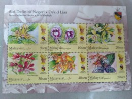 MALAYSIA 2018 WILD ORCHIDS Definitive State Series MS Stamps Perf Negeri Sembilan Negri Sembila Sultan Muhriz Used - Malaysia (1964-...)