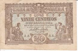 BILLETE DE PORTUGAL DE 20 CENTAVOS BRONZE DEL AÑO 1922  (BANKNOTE) - Portugal