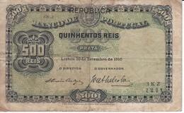 BILLETE DE PORTUGAL DE 500 REIS  DEL AÑO 1910  (BANKNOTE-BANK NOTE) - Portugal