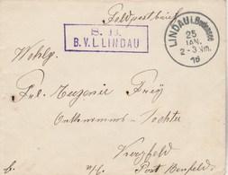 Allemagne Cachet B V L LINDAU Sur Lettre Feldpostbrief LINDAU Bodensee 25/1/1916 - Briefe U. Dokumente