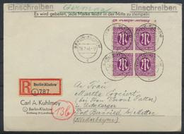 Bizone Brief 7 Oberrand Viererblock Berlin Kladow N. Bernried Post Metten Rs. - Zone Anglo-Américaine