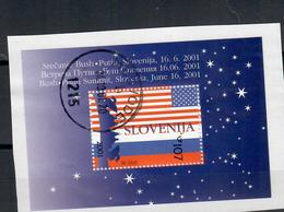 SLOVENIA 2001 -  SUMMIT AMERICANO RUSSO  - FOGLIETTO USATO SU FRAMMENTO - Slovenia
