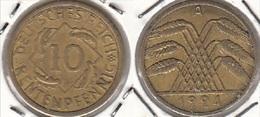 Germania 10 Rentenpfennig 1924A KM#33 - Used - [ 3] 1918-1933 : Repubblica Di Weimar
