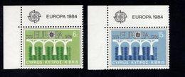 689149792  CYPRUS 1984 POSTFRIS MINT NEVER HINGED POSTFRISCH EINWANDFREI SCOTT  625 626 EUROPA - Chypre (République)