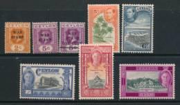 CEYLON, 1918-47 8 Fine MM Stamps - Ceylon (...-1947)